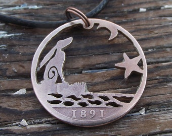 MOON GAZING HARE reflected in water, hand cut 1891 penny, Victorian bronze coin, unique quirky necklace