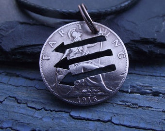 Anti Fascist Hand Cut Coin Necklace, genuine UK farthing unique, recycled bronze jewellery