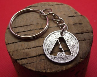 Lucky Sixpence with hand cut initial, a quirky personalised birthday gift