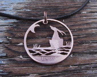 MOON GAZING HARE reflected in water, hand cut 1875 penny, Victorian bronze coin, unique quirky necklace