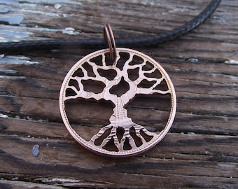TREE OF LIFE hand cut in a bronze half penny.