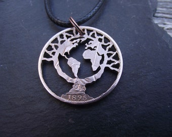 Tree of Life Small World hand cut 1895 penny, recycled bronze coin, gift for a nature lover