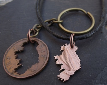 Ireland necklace and keyring, hand cut from a 1943 Irish Half Penny