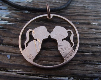 THE KISS hand cut 1908 penny, recycled bronze coin,