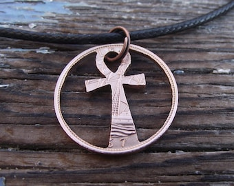 ANKH hand cut coin pendant, bronze half penny, Egyptian hieroglyphic symbol, a unique recycled gift.