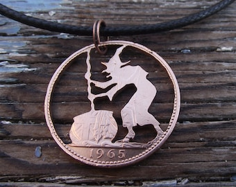 THE WITCH hand cut 1965 penny, recycled bronze coin,