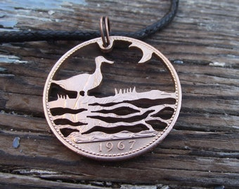 DUCK, recycled 1967 penny, cut coin necklace