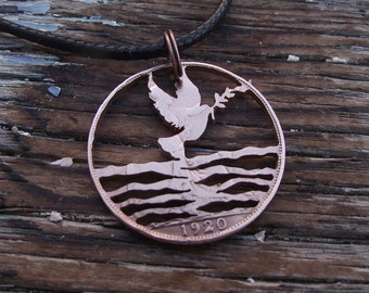 Dove of Peace reflected in water, recycled 1920 penny, cut coin necklace