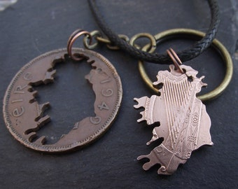 Ireland necklace and keyring, hand cut from a 1949 Irish Penny