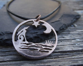 MOON GAZING HARE reflected in water, hand cut 1874 penny, Victorian bronze coin, unique quirky necklace