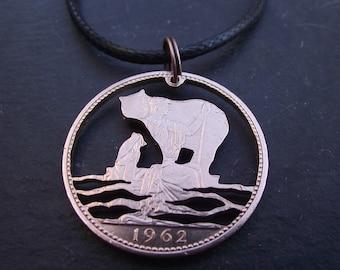 Polar Bear and Cub, recycled 1962 penny, cut coin necklace