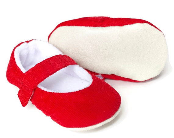 SALE Baby Girls shoes, baby shoes, red girls shoe, red baby shoe, red mary jane, red corduroy mary jane baby shoe, Christmas baby shoe.