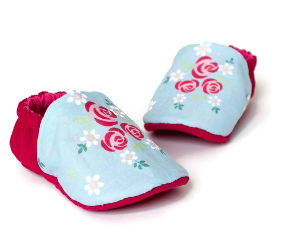 Baby girls shoes, booties and crib shoes. girls shoes, baby shoes, raspberry corduroy and blue floral cotton girls shoe.