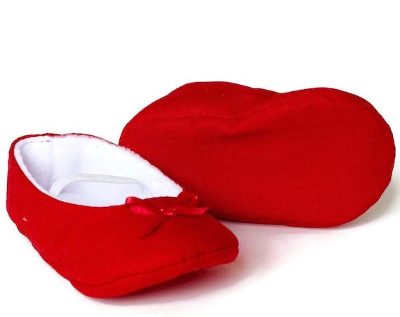 Baby girl shoe, baby shoe ballet flat, red baby girl shoe, girls cotton shoe, baby ballet flat. Red cotton ballet flats.