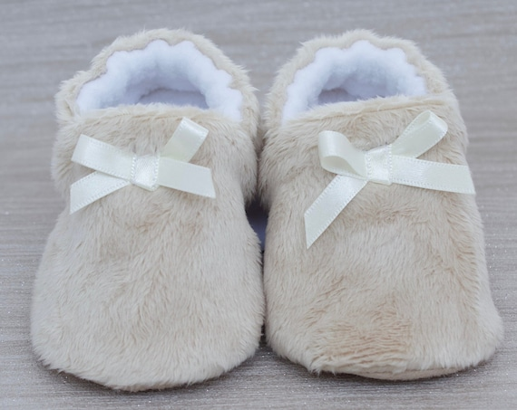 Baby shoes, baby girls shoes, baby shoes girls, teddy soft beige baby shoes with satin bow. baby shower gift.