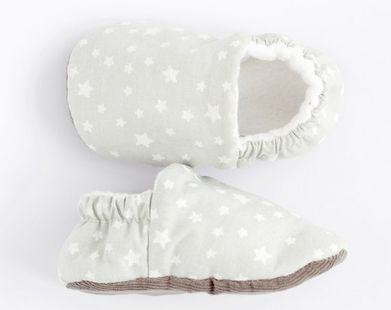 light grey baby shoes with tiny white stars, pre walker shoes and toddler shoes
