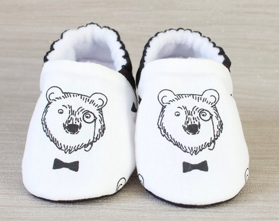 Boys shoe, baby shoe, baby shoe boys, monochrome shoe, monochrome baby, toddler shoe. Mr Bear.