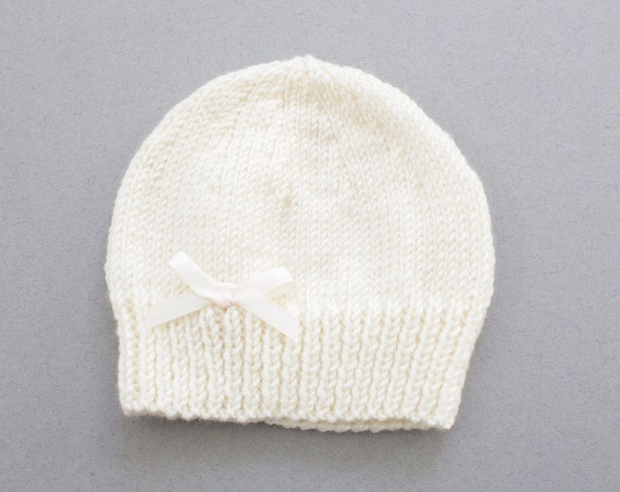 Baby hat, hand knitted baby girls hat with ivory satin bow, winter hat, girls hats, baby girls hat.