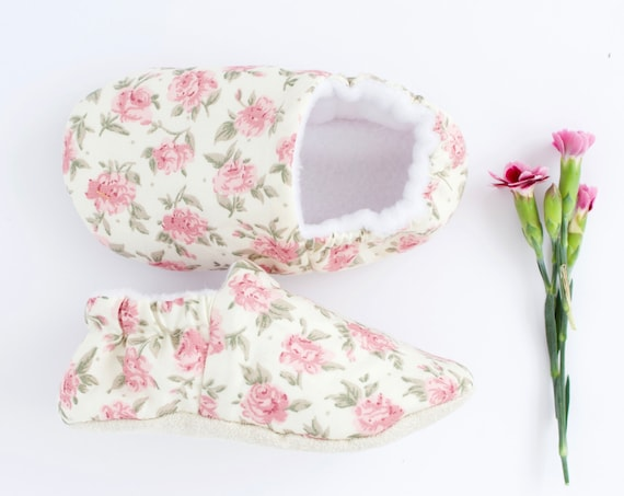 Baby girls floral shoes, dusky pink roses, pre walker and toddlers