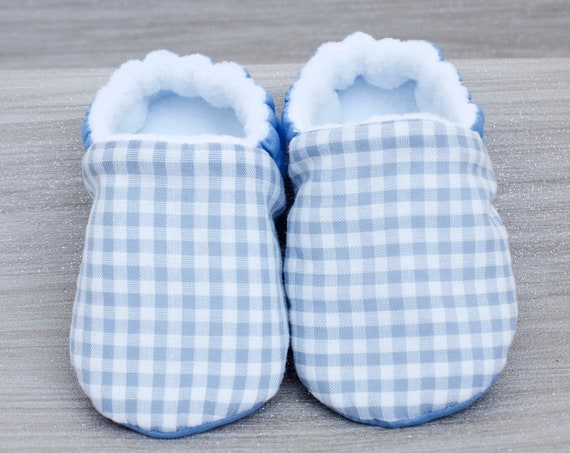 Baby shoes, baby boys shoes, baby shoes boys, booties and crib shoes, blue shoe, blue gingham boys shoe, Baby shower gift.