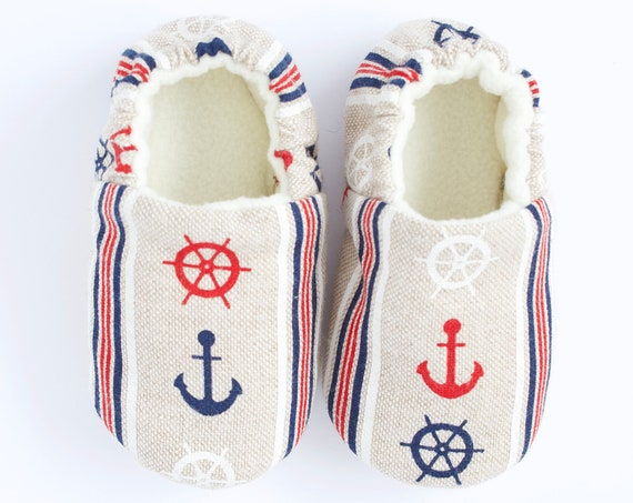 Baby boys shoes, baby shoe, baby shoes boy, boys shoes, boys moccs, linen look cotton nautical moccs