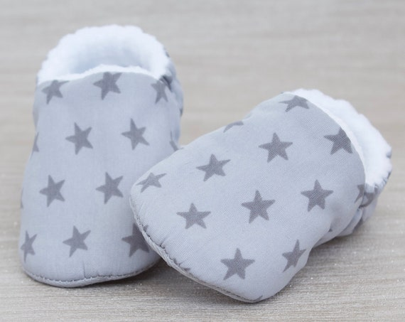Boys shoe, baby shoe, baby shoe boys, light grey with dark grey stars, Baby shower gift for boys, new baby gift. star shoes.