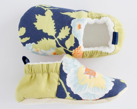 Navy Blue and lime green flora baby girls shoes, moccs, pram shoe, pre walker and toddlers shoes