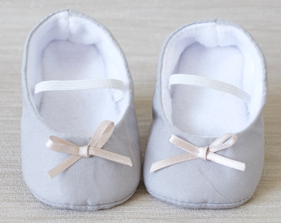 baby girl shoe, baby shoe ballet flat, Light grey baby girl shoe, girls cotton shoe, baby ballet flat.