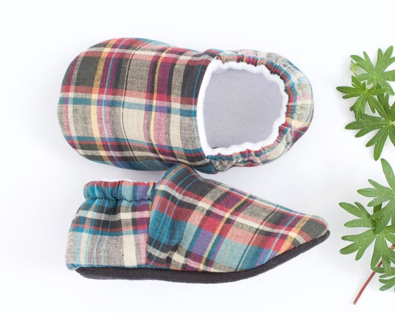 Tartan cotton baby boy shoes/moccs crib shoe pram shoe