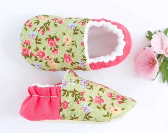 Green floral and pink baby girl shoes Pre walkers and toddlers  shoes