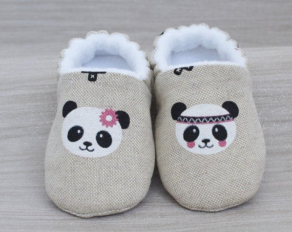 Baby girls shoes, baby shoes, baby shoes girls, baby shower gift, linen look cotton panda face baby booties, crib shoes