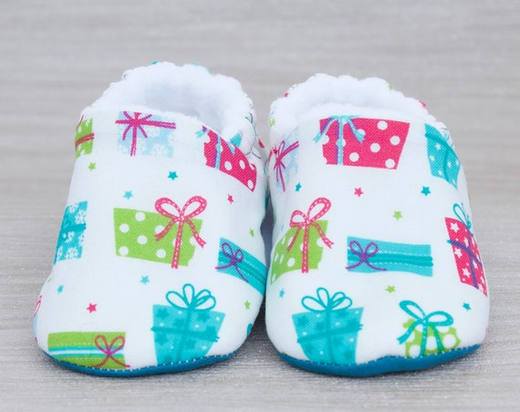 Baby shoes, Christmas shoes, baby girls shoe, baby boys shoe, Christmas gifts baby shoe teal and white