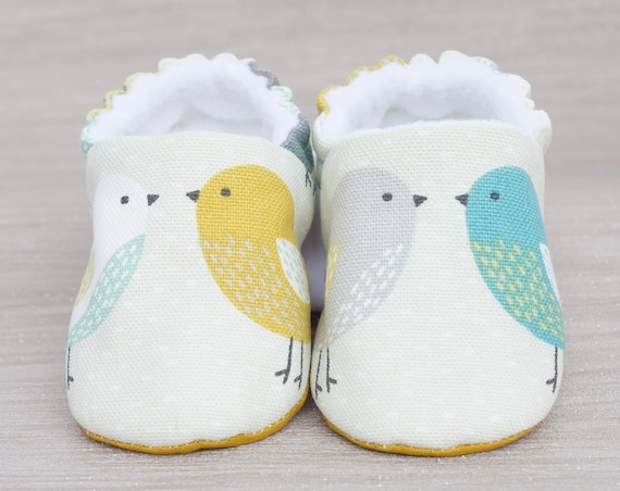 Baby shoes, baby girls shoes, baby shoes girls, Baby birds, with mustard soles, baby shower gift, new baby gift.