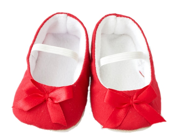 baby girl shoe, baby shoe ballet flat, red baby girl shoe, girls shoe, baby ballet flat with red satin bow