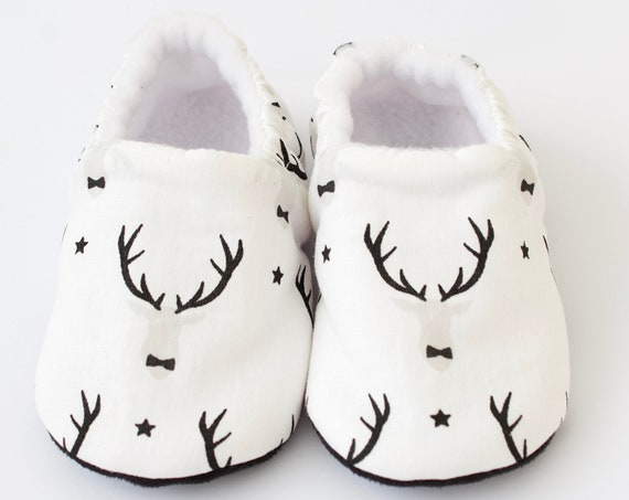 Baby boy shoes, christmas shoes, christmas baby shoes, christmas baby, christmas stag, baby shoes, baby shoes boy. monochrome
