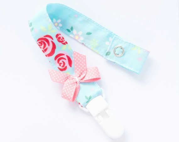 Blue floral dummy clip/ pacifier clip