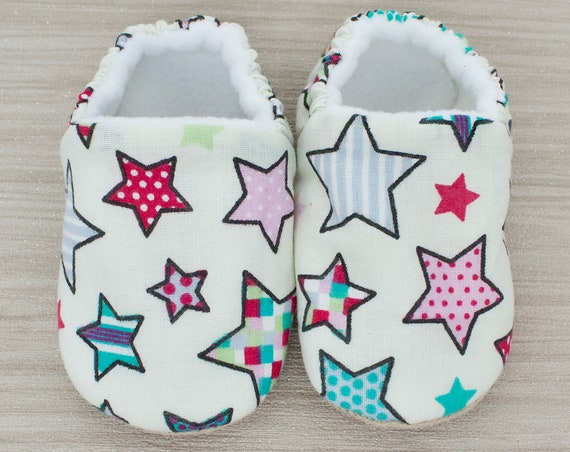 Baby shoes, baby girls shoes, baby shoes girls, baby shoes with colourful stars, baby moccs