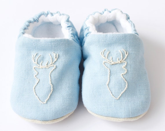 Baby shoes, Christmas shoes, christmas baby shoes, blue shoes, stag, boys shoes, baby boy.
