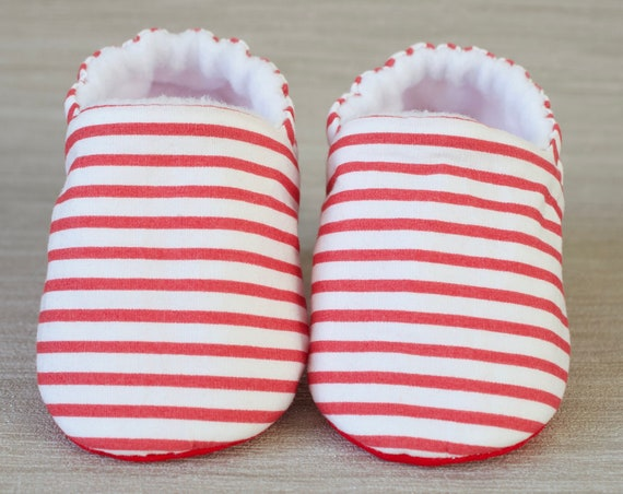 Baby boys shoes, baby shoe, baby shoes boys, red and white stripe shoe, toddlers and pre walker shoes, baby shower gift.