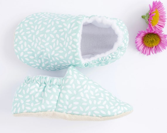 Mint Green with white rice prints, baby shoes, toddlers and pre walkers
