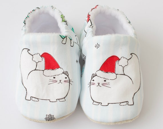 Baby shoes, Christmas shoes, christmas baby shoes, blue shoes, cat, boys shoes, baby boy. baby girls shoes,
