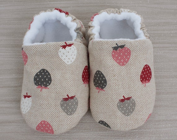 Baby shoes, baby shoes girls, girls shoe, baby girls shoe, baby mocc, Yummy little strawberry. soft sole slip on baby shoes.