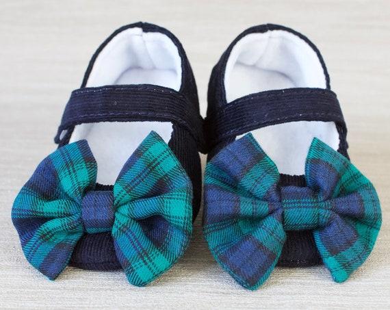 Baby girls shoe, baby shoe, baby shoes girls, mary jane baby shoe, christmas party shoe, baby party shoe, navy corduroy and tartan shoe.