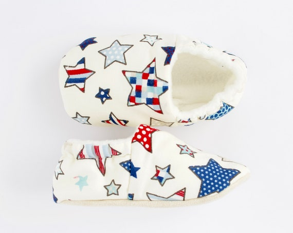 Soft sole slip on baby Boys shoes with colourful star print cotton