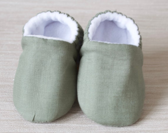 Baby shoes, baby shoes boy, baby boys shoes, Khaki cotton baby shoes, toddler boys shoes, green baby shoes