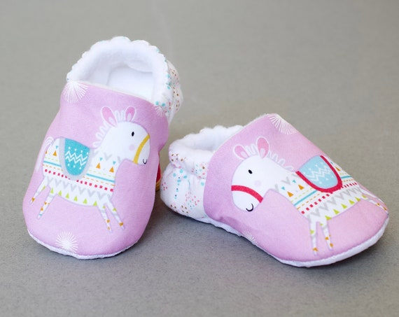 Girls Baby shoes, booties and crib shoes. girls shoes, baby shoes, pink girls shoe with Horse and anti slip sole.