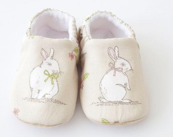 Baby shoes, baby girls shoe, baby shoes girls, bunny shoes beige, toddler and pre walker shoe, baby shower gift.