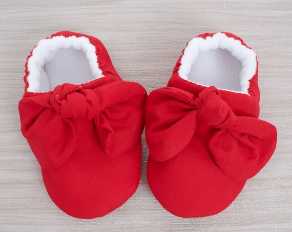 baby girl shoe, baby shoe, baby shoe with bow, Red baby girl shoe, girls shoe, girls mocc with knot bow