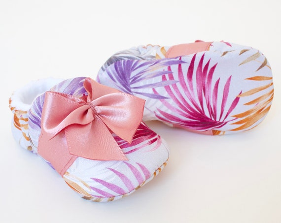 Baby girls shoes, Girls shoes, Pink shoes, pink baby shoes, Baby shower gifts. Pink and lilac Tropical leaf shoe with satin trim and bow.