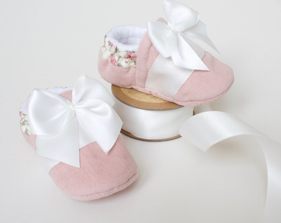 Baby girls shoes, Girls shoes, Pink shoes, pink baby shoes, Baby shower gifts. Pink corduroy baby shoes with floral heal & ivory satin trim.